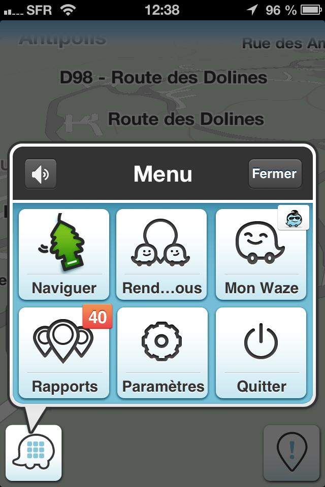 waze menu GPS gratuit radar