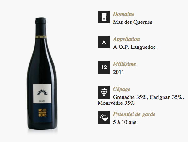 DYONIS la box de degustation pour le vin Vin - Domaine Mas des quernes - Millésime 2011